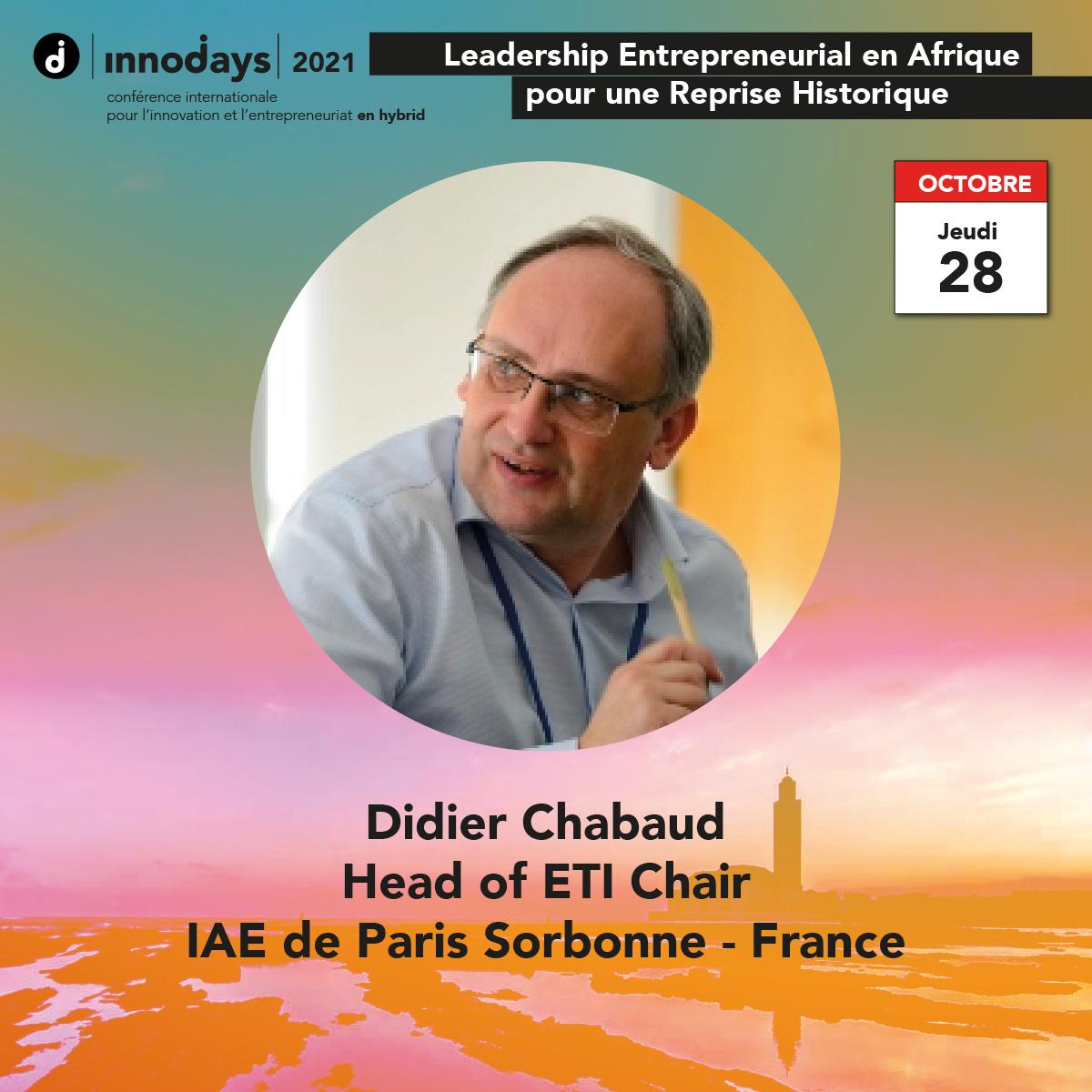 Didier Chabaud - Directeur de la Chaire ETI - IAE de Paris 1 Sorbonne - France