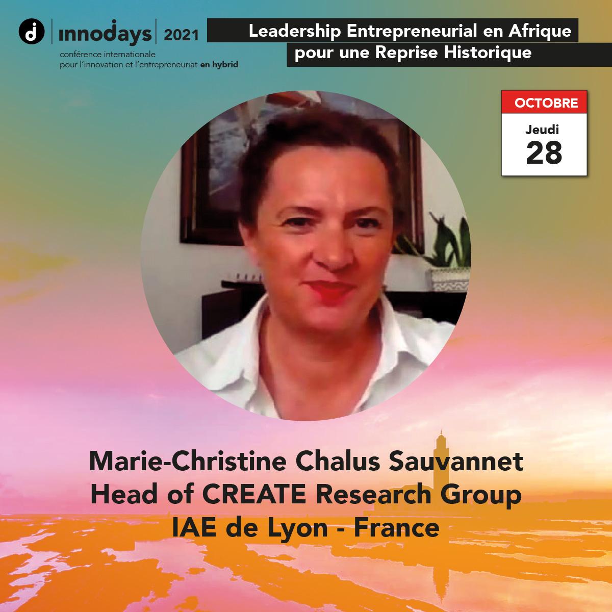 Marie-Christine Chalus Sauvannet - Fondatrice du Groupe de Recherche CREATE - IAE de Lyon - France